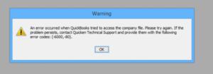 Quickbooks Error -6000 -80